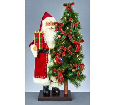 76cm Musical Santa With Illuminated  Tree