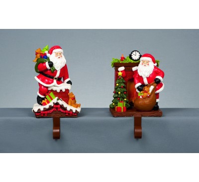 24cm Santa Stocking Hanger 2 Assorted with Chimney Gifts