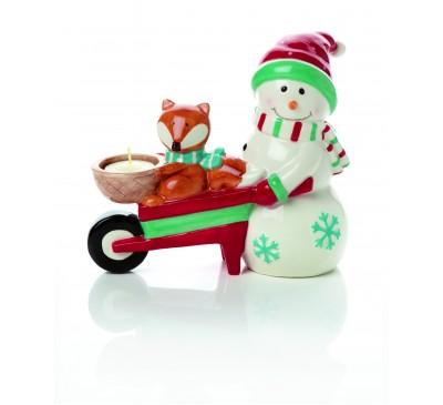 20cm Snowman With Fox in Wheel Barrow TeaLight Holder Dolomite