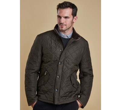 Barbour Mens Powell Quilted Olive Jacket