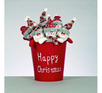 15cm 2 Assorted Hearts Mini Santa Snowman in Bucket Red Grey