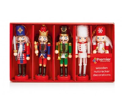 13cm Wooden Nutcrackers Hanging Décoration Set of 5