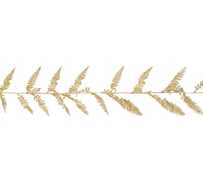 1.8M Glitter Fern Leaf Garland Gold