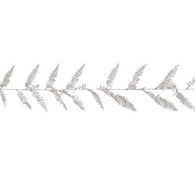 1.8M Glitter Fern Leaf Garland Silver