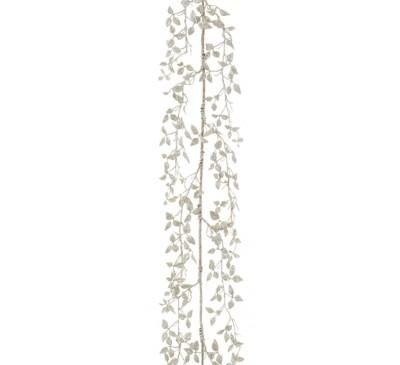 150cm Silver Glitter Leaf Garland