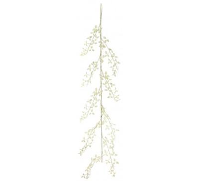 150cm White Glitter Leaf Garland