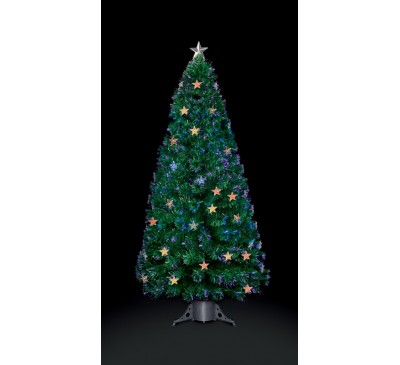 1.8M Fibre Optic Star Christmas Tree with Red, Green and Blue LEDs: 210 Tips