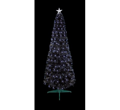 1.2m Black Slim Christmas Tree with White LEDs