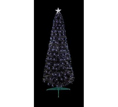 1.5m Black Slim Christmas Tree with White LEDs