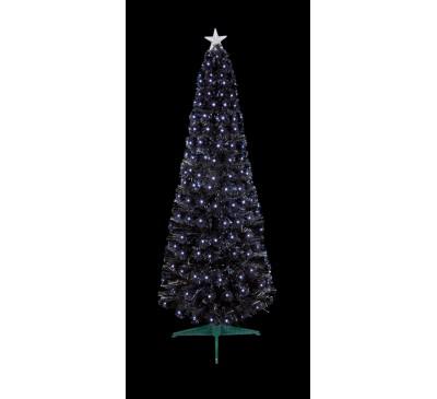 1.8m Black Slim Christmas Tree with White LEDs
