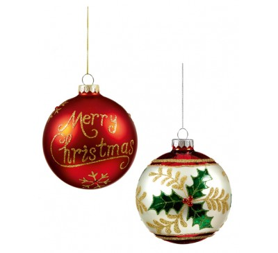 100mm Merry Christmas Bauble