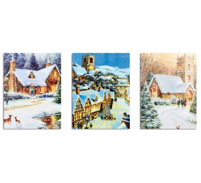 40x30cm Winter House Canvas with 5 LEDs 3 Designs
