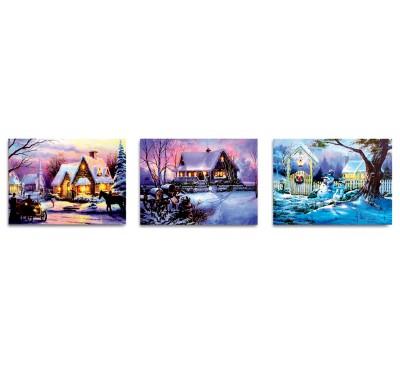 40x30cm Snowy House Scene Canvas with 6 LEDs - 3 Asst