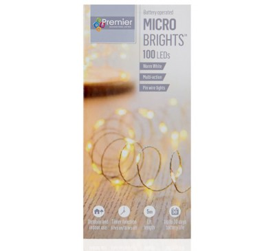 100 Battery Operated Multi Action MicroBrights  with Timer in White