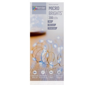 200 Battery Operated Multi Action MicroBrights with Timer in Multi colour