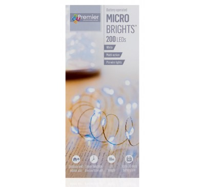 200 Battery Operated Multi Action MicroBrights with Timer in White