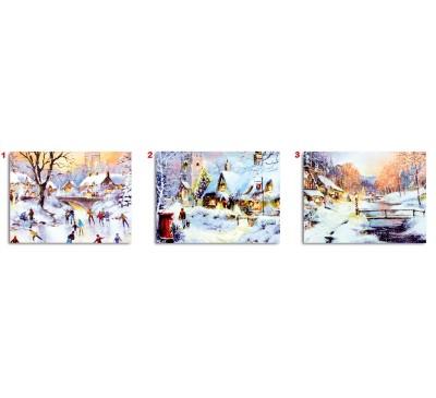 30x40cm 3 Assorted Illuminated Canvas British Snow Scenes