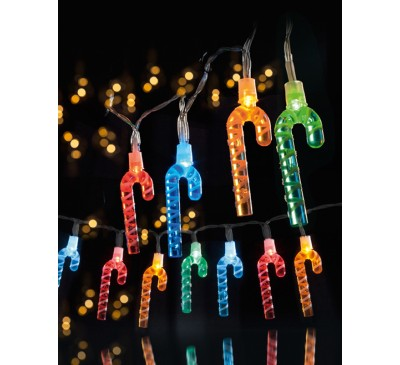 20 Candy Cane Lights with Multi coloured LEDs