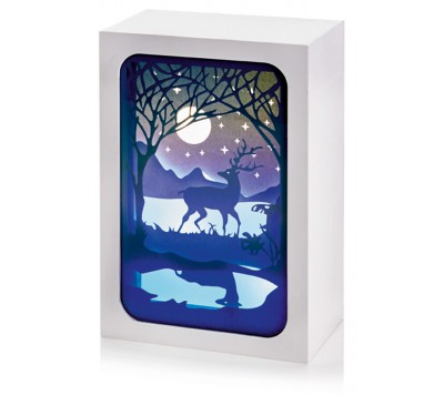 16x11cm Paper Diorama with Moonlight Scene - 4 LEDs