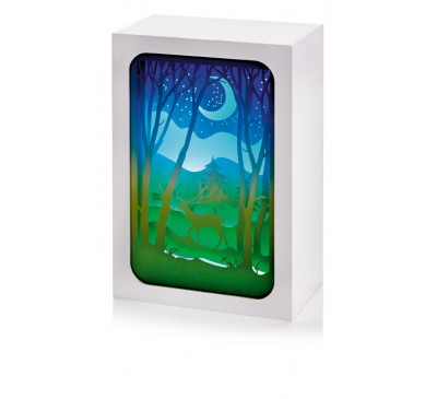16x11cm Paper Diorama with Crescent Moon Scene - 4 LEDs