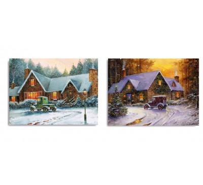 40x30cm Vintage Car Winter Illuminated Canvas 2 Designs