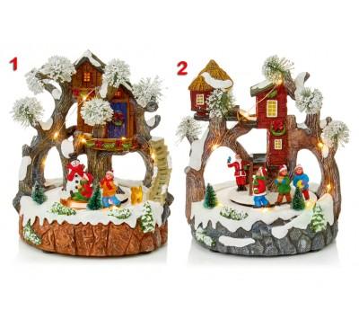 23cm Illuminated  and Animated Tree House Scene 2 Designs