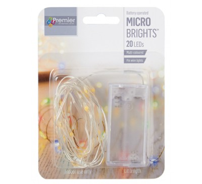 20 Indoor Pin Wire Lights with Multi coloured LEDs