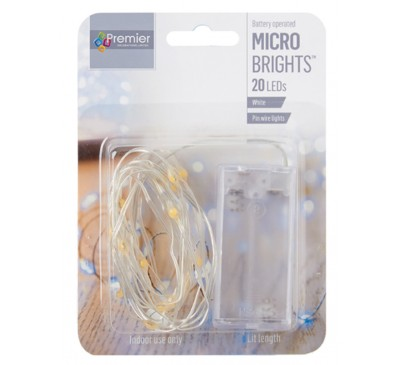 20 Indoor Pin Wire Lights with White LEDs