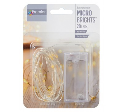 20 Indoor Pin Wire Lights with Warm White LEDs