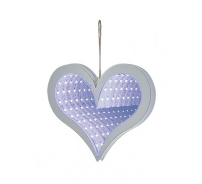 20cm Hanging Heart Infinity Mirror with Blue LEDs