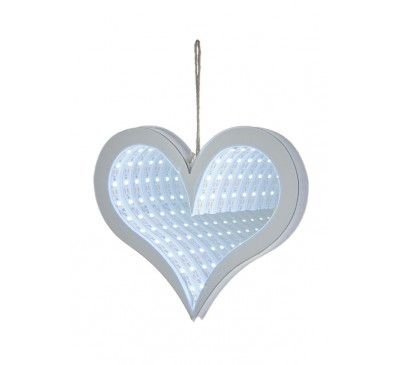 20cm Hanging Heart Infinity Mirror with White LEDs