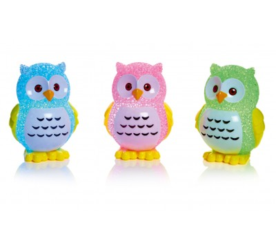 11cm Owl with Colour Changing LEDs - Pink,Green and Blue