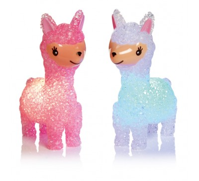 14.5cm Llama with Colour Changing LEDs - Pink and White