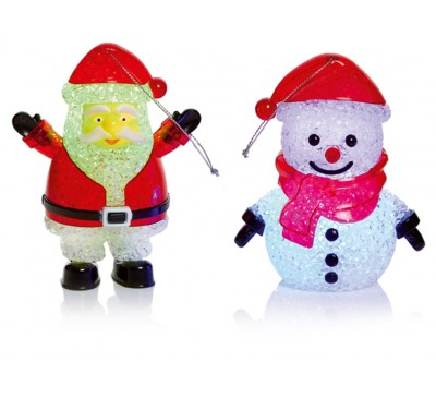 12cm Santa and Snowman with Colour Changing LEDs