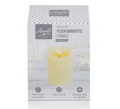 13x9cm Cream Flickerbright Textured Candle with Timer