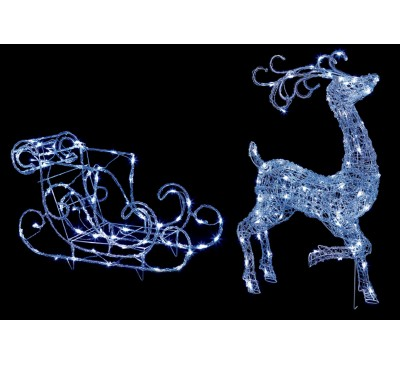 1M Acrylic Reindeer and Sleigh with 140 White LEDs