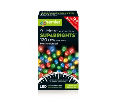 120 Multicolour LED Supabright Lights with Timer