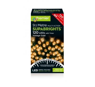 120 Multi Action LED Supabright Timer Lights in Vintage Gold
