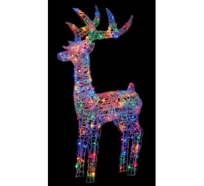 1.15M Soft Acrylic illuminated Reindeer with 160 Multi Coloured LED's