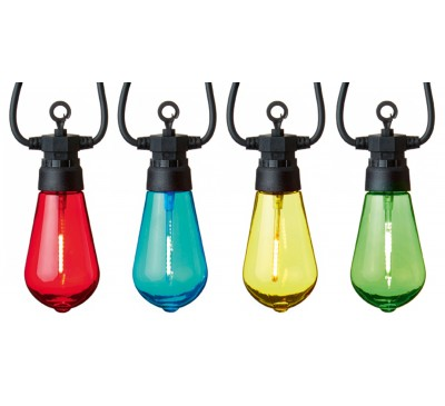 10 Connectable Lights with Tinted Bulbs and Multi coloured LEDs