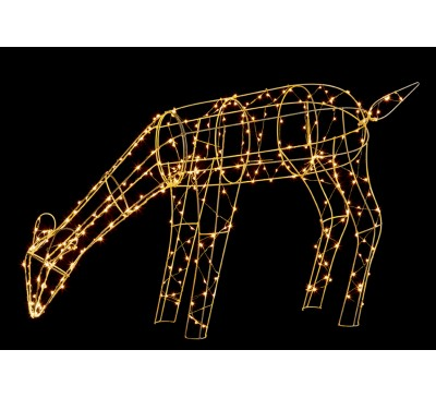 1M Copper Wire Grazing Deer Reindeer with300 Warm White LED