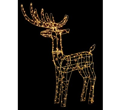 1M Copper Wire Standing Deer Reindeer with 300 Warm White LEDs