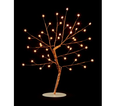45cm Wire Copper Tree with Star and 48 Warm White LEDs