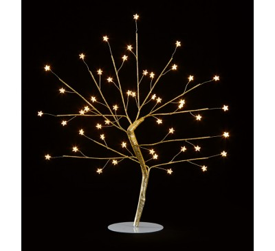 45cm Wire Gold Tree with Star and 48 Warm White LEDs