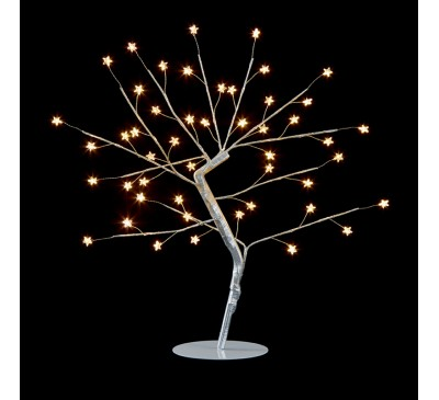 45cm Wire Silver Tree with Star and 48 Warm White LEDs
