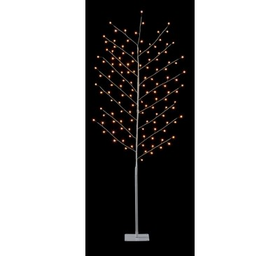 1.5M White Copper Wire Tree with Star and 96 Warm White LEDs