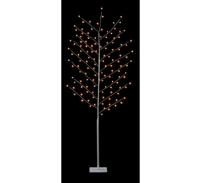 1.8M White Copper Wire  Tree with Star and 128 Warm White LEDs