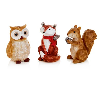 11cm Fox Owl Squirrel Sitting