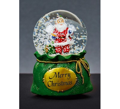 16cm Waterglobe in Green Sack