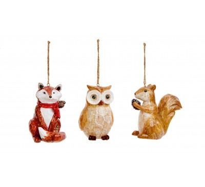 11cm Fox Owl Squirrel Hanging